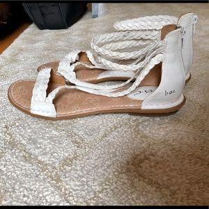 BOC Braided ankle flat sandal white